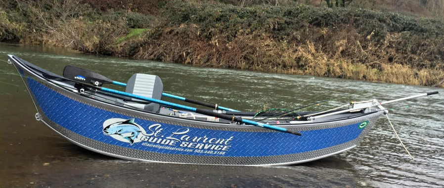 28ft Willie Drift Boat in the water - Silver and Blue - Fishing Oregon - St. Laurent Guide Service