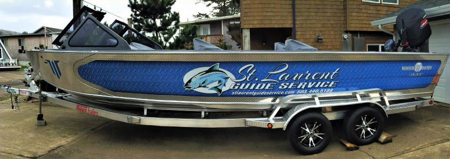 28ft Willie Nemesis Boat - Silver and Blue - Fishing Oregon - St. Laurent Guide Service
