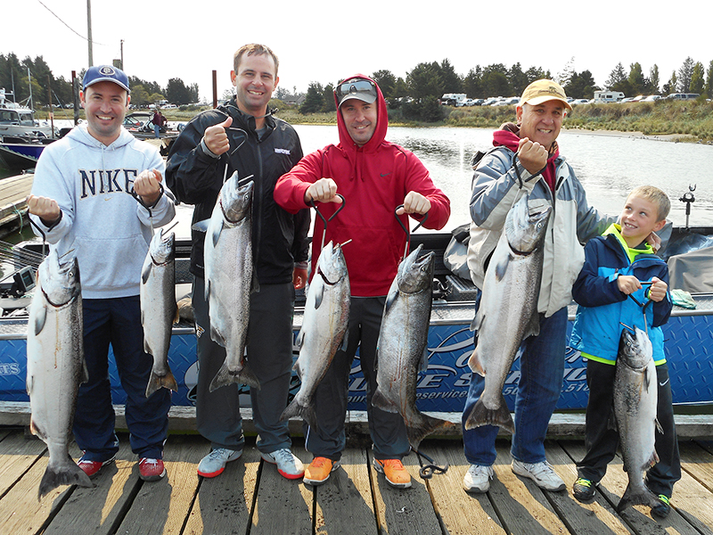 Family of Guys Young and Old with their Catch - Buoy 10 Fishing - Columbia River - St. Laurent Guide Service