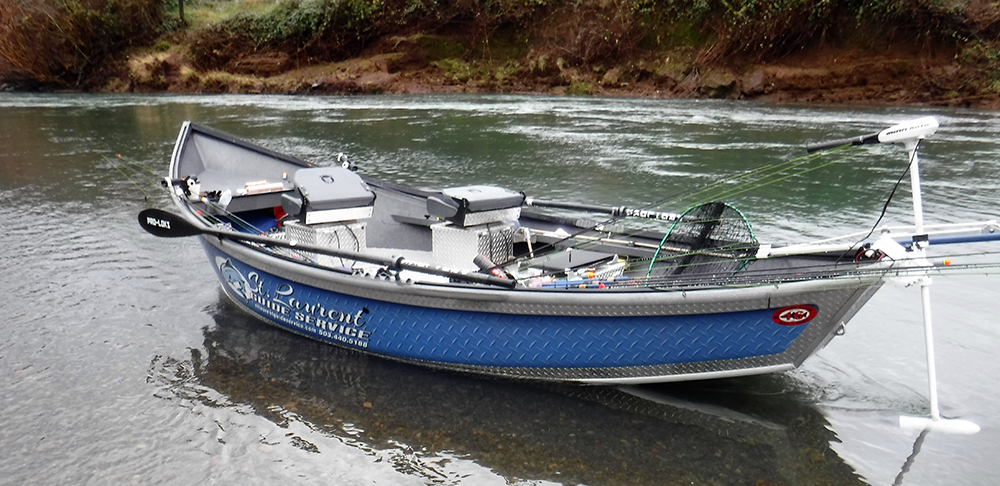 Willies Boat in Water - Fishing Oregon - St. Laurent Guide Service